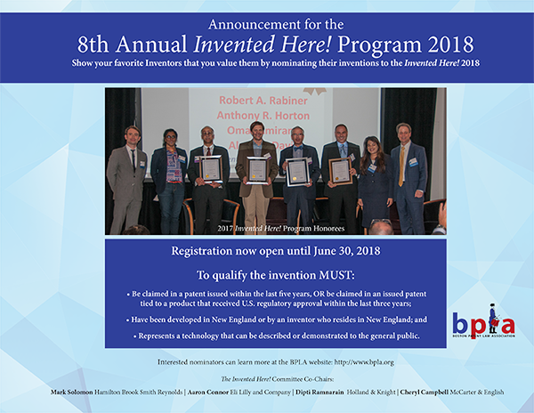 8th. Annual Invented Here! Program 2018