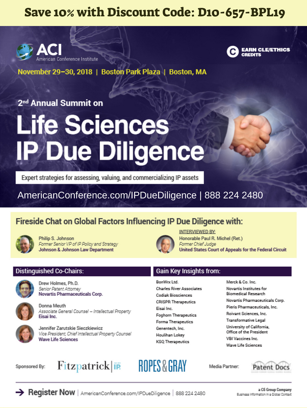 2nd Annual Summit on Life Sciences IP Due Diligence